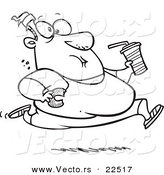 Vector of a Cartoon Fat Man Running and Eating Junk Food - Coloring Page Outline by Toonaday