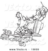 Vector of a Cartoon Father Working from Home - Outlined Coloring Page by Toonaday
