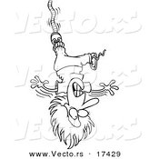 Vector of a Cartoon Female Bungee Jumper - Coloring Page Outline by Toonaday