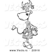 Vector of a Cartoon Female Cow Carrying a Purse - Coloring Page Outline by Toonaday