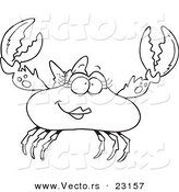 Vector of a Cartoon Female Crab - Coloring Page Outline by Toonaday