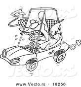 Vector of a Cartoon Female Driver with Road Rage - Outlined Coloring Page by Toonaday
