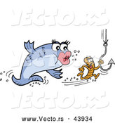 Vector of a Cartoon Female Fish Chasing a Small Male Worm on a Hook by LaffToon