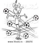 Vector of a Cartoon Female Soccer Coach with Balls Flying at Her - Outlined Coloring Page by Toonaday