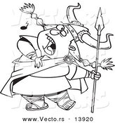 Vector of a Cartoon Female Viking Singing a Song and Holding a Spear - Coloring Page Outline by Toonaday