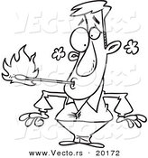 Vector of a Cartoon Fire Eater Holding a Match in His Mouth - Outlined Coloring Page by Toonaday