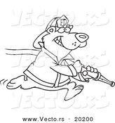 Vector of a Cartoon Fire Fighter Bear Carrying a Hose - Outlined Coloring Page by Toonaday