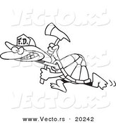 Vector of a Cartoon Fire Fighter Tortoise Carrying an Axe - Outlined Coloring Page by Ron Leishman