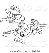 Vector of a Cartoon Fire Fighter Turkey Carrying a Hose - Outlined Coloring Page by Toonaday
