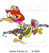 Vector of a Cartoon Fire Fighter Turkey Running with Water Hose by Toonaday