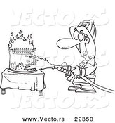 Vector of a Cartoon Fireman Extinguishing a Birthday Cake - Coloring Page Outline by Toonaday