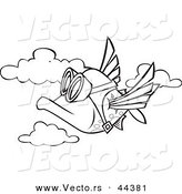 Vector of a Cartoon Fish Flying in the Sky - Coloring Page Outline by Toonaday