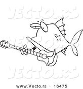 Vector of a Cartoon Fish Guitarist - Outlined Coloring Page Drawing by Toonaday