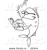 Vector of a Cartoon Fish Reading a Story Book - Coloring Page Outline by Toonaday