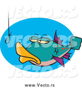 Vector of a Cartoon Fish Staring at a Hook by Ron Leishman