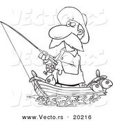 Vector of a Cartoon Fisherman Standing in His Boat - Outlined Coloring Page by Toonaday