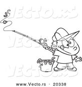 Vector of a Cartoon Fishing Boy with a Bucket of Worms - Coloring Page Outline by Toonaday