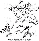 Vector of a Cartoon Fit Senior Man Running - Coloring Page Outline by Toonaday
