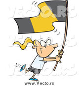 Vector of a Cartoon Flag Bearer Blond White Girl Walking by Toonaday