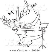 Vector of a Cartoon Flautist Rhino - Coloring Page Outline by Toonaday