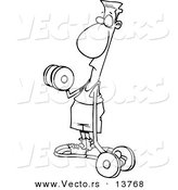 Vector of a Cartoon Flimsy Armed Man Lifting Weights - Coloring Page Outline by Toonaday