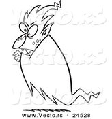 Vector of a Cartoon Floating Vampire - Outlined Coloring Page by Toonaday