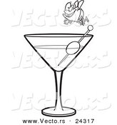 Vector of a Cartoon Fly Diver over a Martini Black and White Outline - Outlined Coloring Page by Ron Leishman