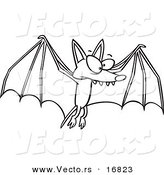 Vector of a Cartoon Flying Bat - Coloring Page Outline by Toonaday