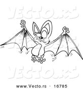 Vector of a Cartoon Flying Bat Holding His Wings Open - Coloring Page Outline by Toonaday