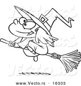 Vector of a Cartoon Flying Girl Witch - Outlined Coloring Page Drawing by Toonaday