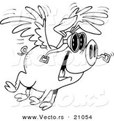 Vector of a Cartoon Flying Pig - Coloring Page Outline by Toonaday