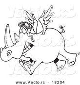 Vector of a Cartoon Flying Rhino - Outlined Coloring Page by Toonaday
