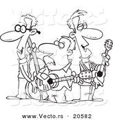 Vector of a Cartoon Folk Music Band - Coloring Page Outline by Toonaday