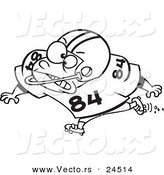 Vector of a Cartoon Football Blocker - Outlined Coloring Page by Toonaday