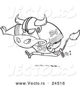 Vector of a Cartoon Football Bull Running - Outlined Coloring Page by Ron Leishman