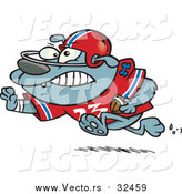 Vector of a Cartoon Football Bulldog Running by Toonaday