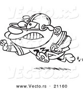 Vector of a Cartoon Football Bulldog Running with a Straight Arm - Coloring Page Outline by Toonaday