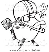 Vector of a Cartoon Football Fish Wearing a Helmet - Coloring Page Outline by Toonaday