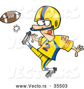 Vector of a Cartoon Football Player Kicking the Ball by Toonaday