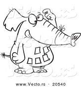 Vector of a Cartoon Forgetful Elephant with Notes on His Belly - Coloring Page Outline by Toonaday