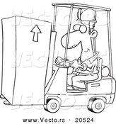 Vector of a Cartoon Forklift Operator Moving a Box - Coloring Page Outline by Toonaday