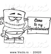 Vector of a Cartoon Frankenstein Boy Holding a Come to My Spooktacular Party Sign - Coloring Page Outline by Toonaday