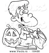Vector of a Cartoon Frankenstein Boy Trick or Treating - Outlined Coloring Page by Toonaday