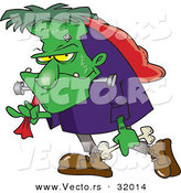 Vector of a Cartoon Frankenstein Carrying a Bag and Bone on Halloween by Ron Leishman