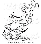 Vector of a Cartoon Frankenstein Riding a Trike - Outlined Coloring Page by Toonaday