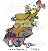 Vector of a Cartoon Frankenstein Riding a Trike While Grinning by Toonaday