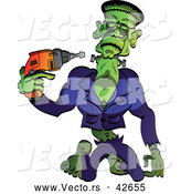 Vector of a Cartoon Frankenstein Tightening Screws on His Neck by Zooco