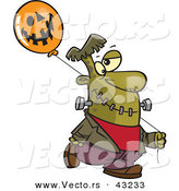 Vector of a Cartoon Frankenstein Walking with a Halloween Jackolantern Balloon by Toonaday