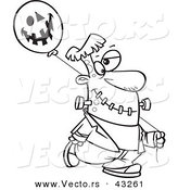 Vector of a Cartoon Frankenstein Walking with a Halloween Jackolantern Balloon - Coloring Page Outline by Ron Leishman