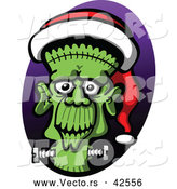 Vector of a Cartoon Frankenstein Wearing a Santa Hat by Zooco